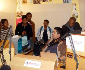 Adrian Louw guides the GYR participants through the on-air studio