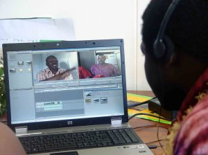 Bill Mbuyi of CTV gets down to the serious business of editing