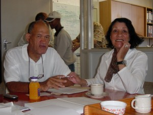 Sathima and Bush Radio volunteer, Ronnie Green enjoying a laugh and a cup of tea at the station