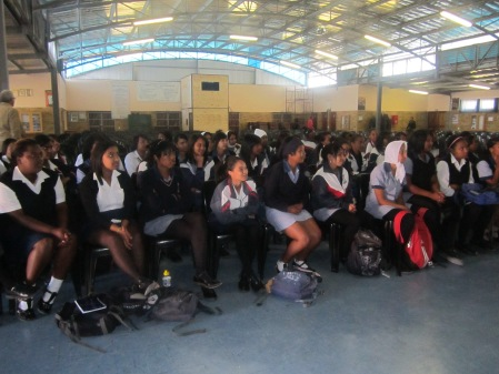 Excited Glendale High matrics await their stationery packs