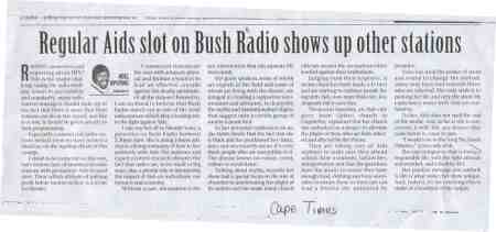 regular aids slot on bush radio shows up other stations