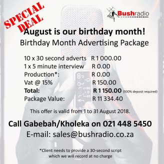 birthday ad special 2018 Bush Radio lq